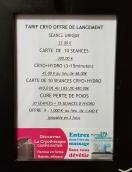 Tarifs Cryothérapie & Hydro Massage